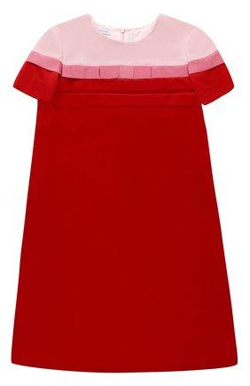 Бархатное мини-платье прямого кроя с бантом | Фото №1