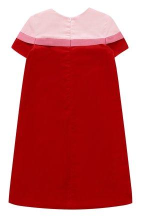 Детское бархатное мини-платье прямого кроя с бантом I Pinco Pallino красного цвета | Фото №1