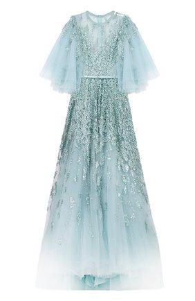 Многослойное платье с подолом и декоративной отделкой пайетками | Фото №1