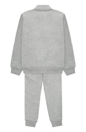Спортивный костюм из хлопка с контрастной отделкой Moncler Enfant серого цвета | Фото №1