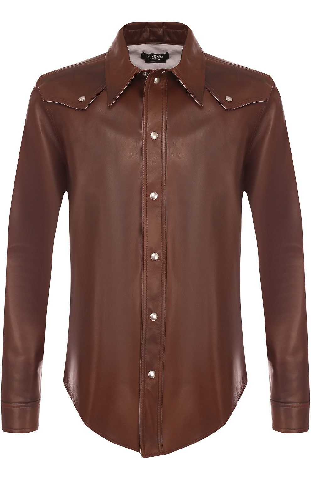 62a447364c6 Мужская коричневая кожаная рубашка на кнопках CALVIN KLEIN 205W39NYC ...