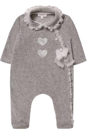 Детский хлопковая пижама с оборками и бантом ALETTA серого цвета, арт. RL777028CIN/1M-18M | Фото 1