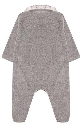 Детский хлопковая пижама с оборками и бантом ALETTA серого цвета, арт. RL777028CIN/1M-18M | Фото 2