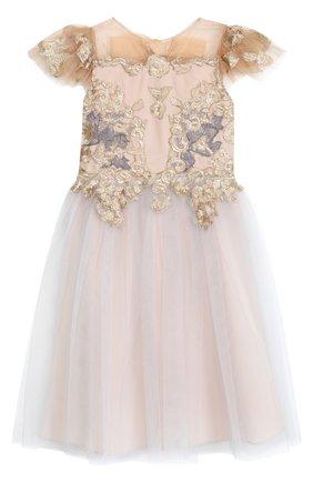 Многослойное платье-макси с вышивкой | Фото №1