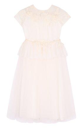 Многослойное платье с кружевной отделкой | Фото №1