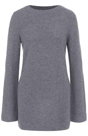 Удлиненный кашемировый пуловер с круглым вырезом Le Kasha темно-синий   Фото №1