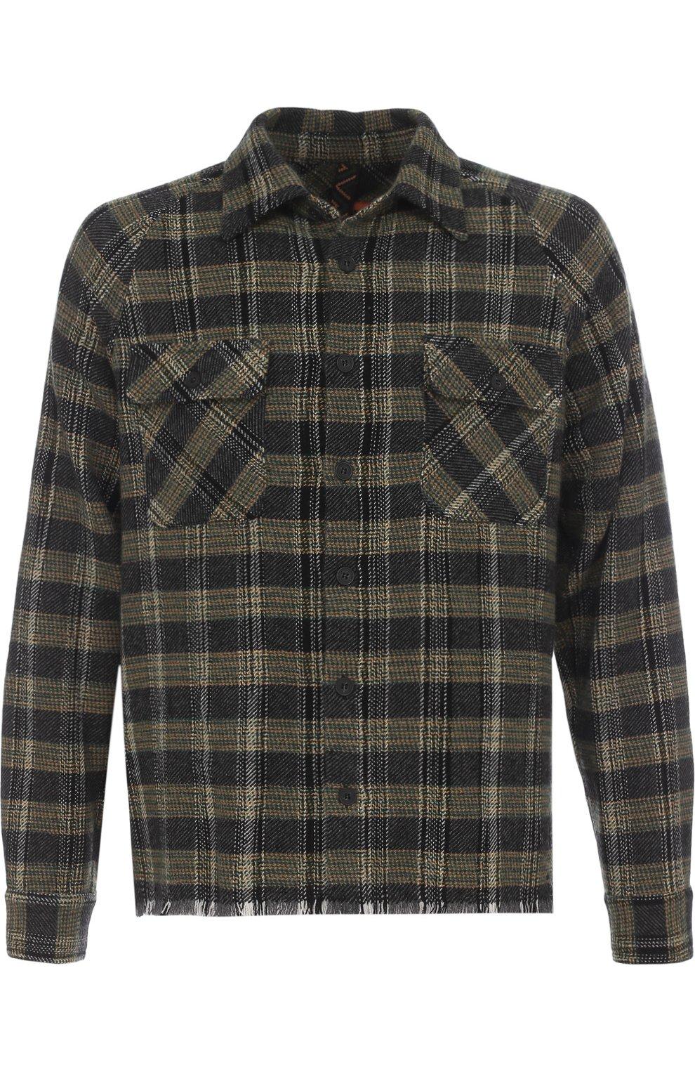 Кашемировая рубашка в клетку с необработанным краем | Фото №1