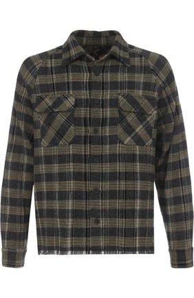 Кашемировая рубашка в клетку с необработанным краем Missoni разноцветная | Фото №1