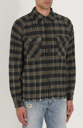 Кашемировая рубашка в клетку с необработанным краем Missoni разноцветная | Фото №3