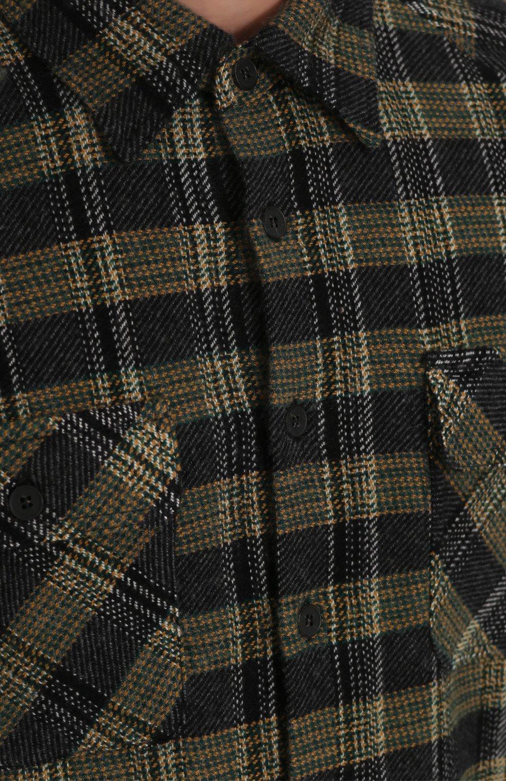Кашемировая рубашка в клетку с необработанным краем Missoni разноцветная | Фото №5