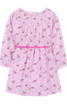 Детское приталенное платье из смеси хлопка и вискозы с принтом Egg By Susan Lazar лилового цвета | Фото №1