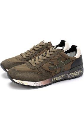Комбинированные кроссовки на шнуровке
