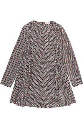 Вязаное мини-платье прямого кроя с принтом   Фото №1