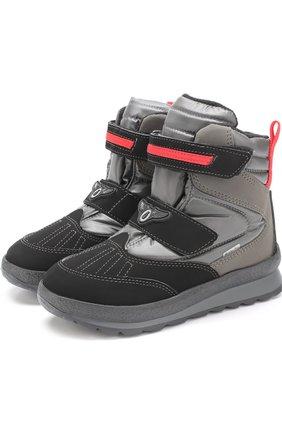 Детские комбинированные ботинки с застежками велькро Jog Dog черного цвета | Фото №1