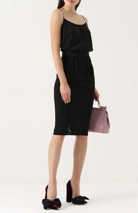 Кружевная юбка-карандаш со шнуровкой Dolce & Gabbana черная | Фото №2