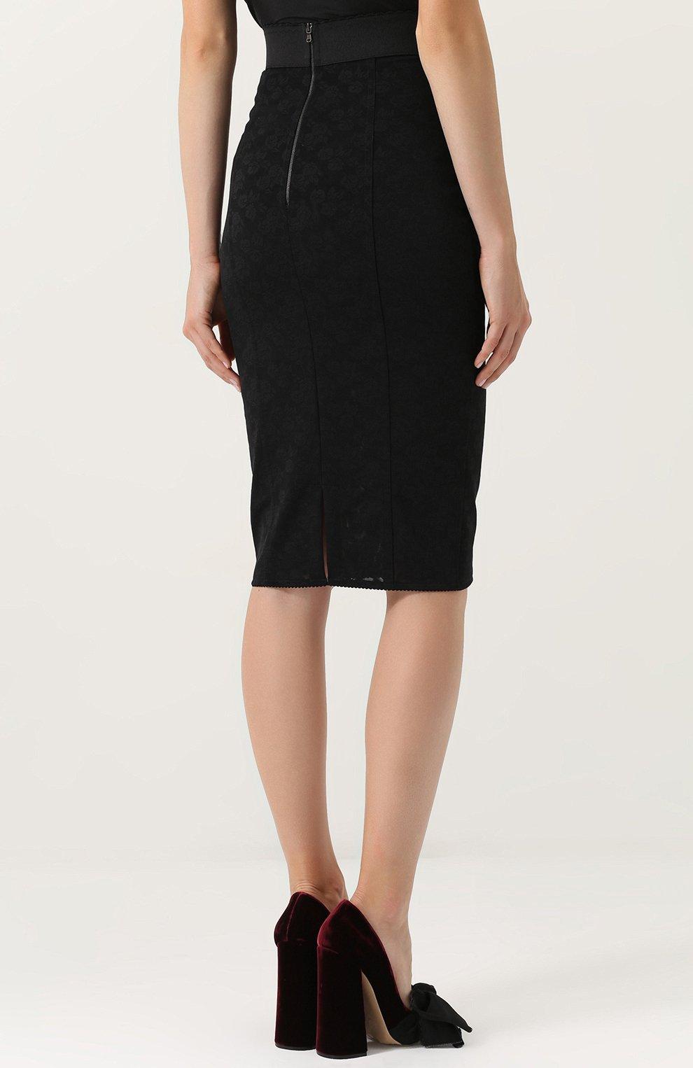 Кружевная юбка-карандаш со шнуровкой Dolce & Gabbana черная | Фото №4