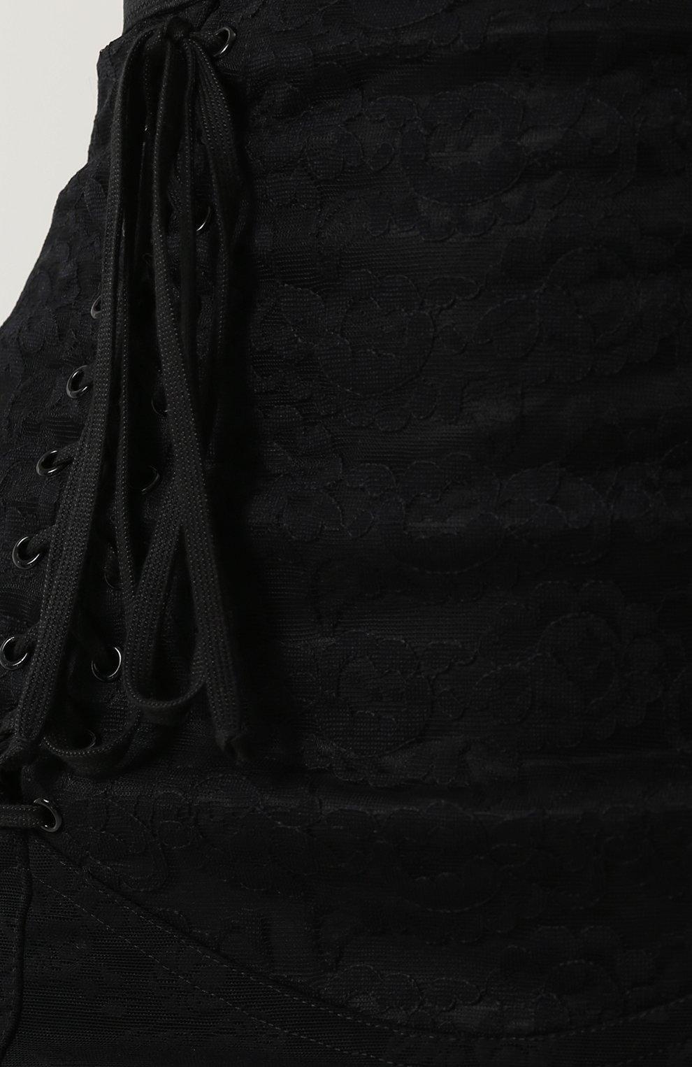 Кружевная юбка-карандаш со шнуровкой Dolce & Gabbana черная | Фото №5