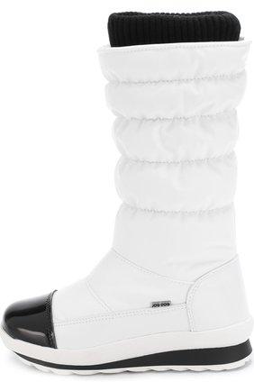 Детские текстильные утепленные сапоги с контрастной отделкой Jog Dog белого цвета | Фото №1