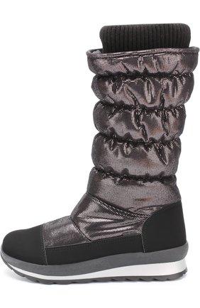 Детские текстильные утепленные сапоги с контрастной отделкой Jog Dog черного цвета | Фото №1