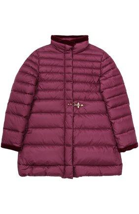 Укороченное пуховое пальто с бархатной отделкой | Фото №1