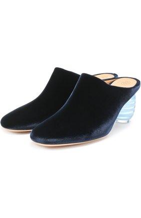 Бархатные мюли на декорированном каблуке The Row темно-синие | Фото №1
