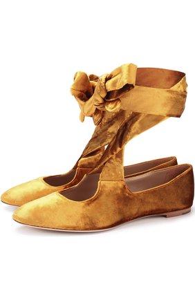 Бархатные балетки на лентах The Row золотые | Фото №1