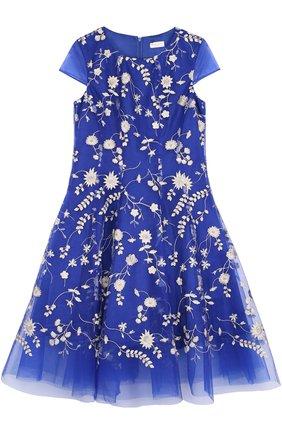 Многослойное макси-платье с цветочной вышивкой | Фото №1