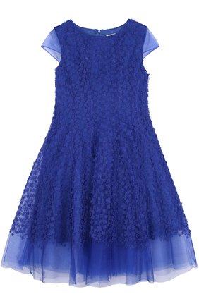 Многослойное макси-платье с цветочной отделкой | Фото №1