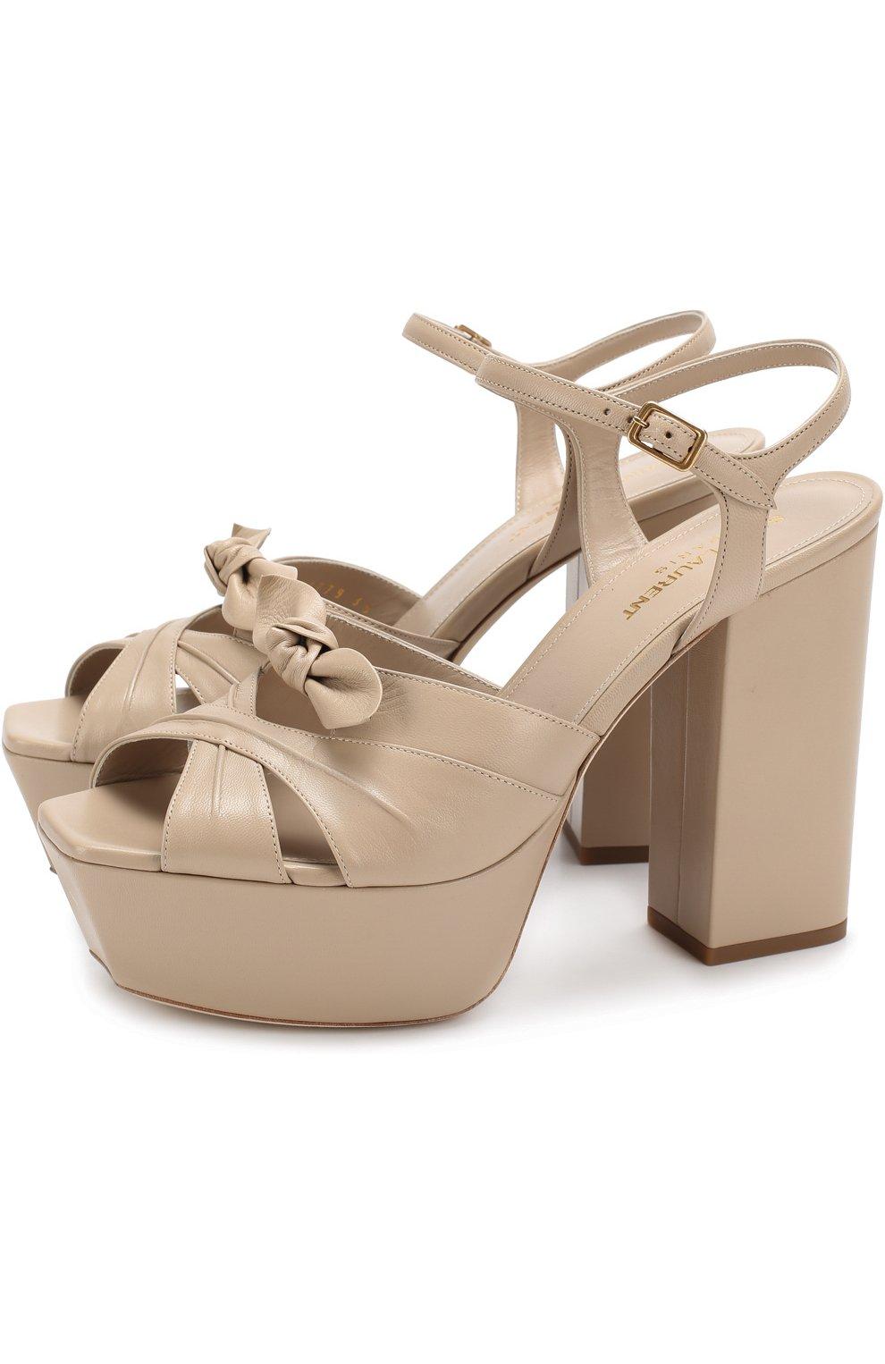 59db78321f25 Женские бежевые кожаные босоножки farrah на устойчивом каблуке и ...