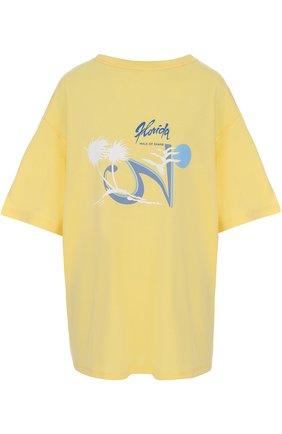 Хлопковая футболка свободного кроя Walk of Shame желтая   Фото №1