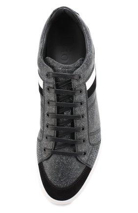 Кожаные кеды на шнуровке с контрастной отделкой Dior серые | Фото №5