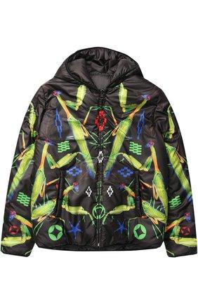 Утепленная куртка с капюшоном и принтом   Фото №1