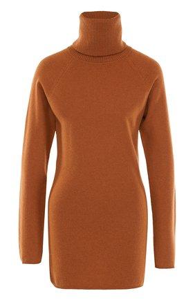 Удлиненный шерстяной свитер с высоким воротником Tegin бежевый | Фото №1