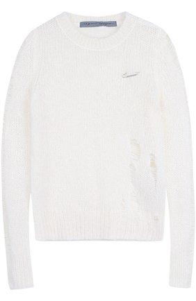 Пуловер фактурной вязки с круглым вырезом Raquel Allegra белый | Фото №1