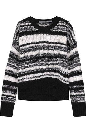 Пуловер фактурной вязки с круглым вырезом Raquel Allegra черно-белый | Фото №1