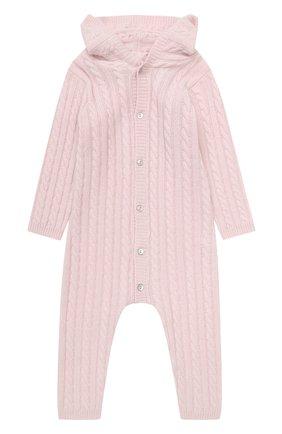 Детский кашемировый комбинезон с капюшоном LA PERLA розового цвета, арт. 59975/18M-24M | Фото 1