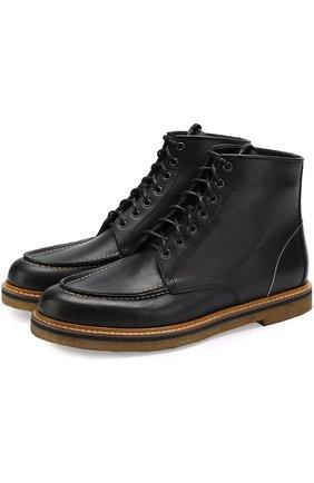 Высокие кожаные ботинки на шнуровке