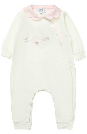 Детский хлопковая пижама с декоративной отделкой ALETTA белого цвета, арт. RB777032FP/1M-18M | Фото 1