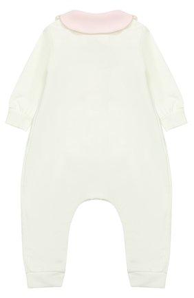 Детский хлопковая пижама с декоративной отделкой ALETTA белого цвета, арт. RB777032FP/1M-18M | Фото 2