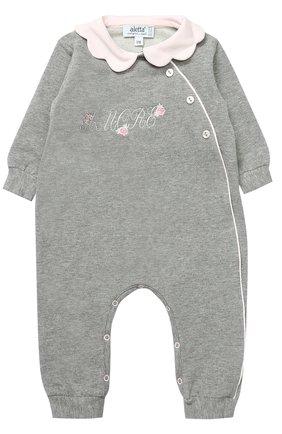 Детский хлопковая пижама с декоративной отделкой ALETTA серого цвета, арт. RB777032FP/1M-18M | Фото 1