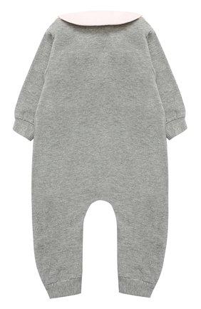 Детский хлопковая пижама с декоративной отделкой ALETTA серого цвета, арт. RB777032FP/1M-18M | Фото 2