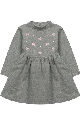 Женский хлопковое платье с вышивкой ALETTA серого цвета, арт. RB777021FP/1M-18M | Фото 1