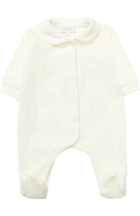 Детский хлопковая пижама с наживками ALETTA кремвого цвета, арт. RL777027CIN/1M-18M | Фото 1 (Материал внешний: Хлопок; Статус проверки: Проверено; Рукава: Длинные)