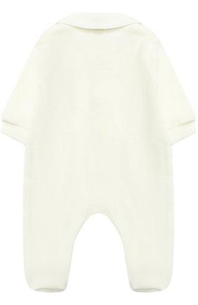 Детский хлопковая пижама с наживками ALETTA кремвого цвета, арт. RL777027CIN/1M-18M | Фото 2 (Материал внешний: Хлопок; Статус проверки: Проверено; Рукава: Длинные)