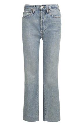 Укороченные расклешенные джинсы Re/Done голубые | Фото №1