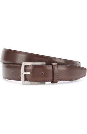 Мужской кожаный ремень с металлической пряжкой KITON темно-коричневого цвета, арт. USC3PN00101 | Фото 1