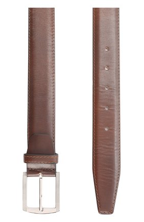 Мужской кожаный ремень с металлической пряжкой KITON темно-коричневого цвета, арт. USC3PN00101 | Фото 2