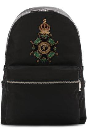 Текстильный рюкзак с аппликацией Dolce & Gabbana черный | Фото №1