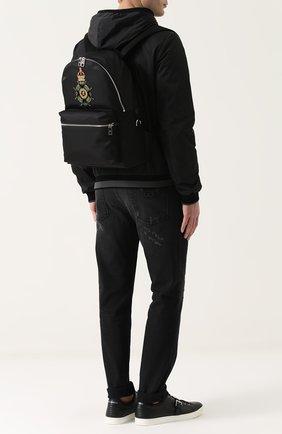 Текстильный рюкзак с аппликацией Dolce & Gabbana черный | Фото №2