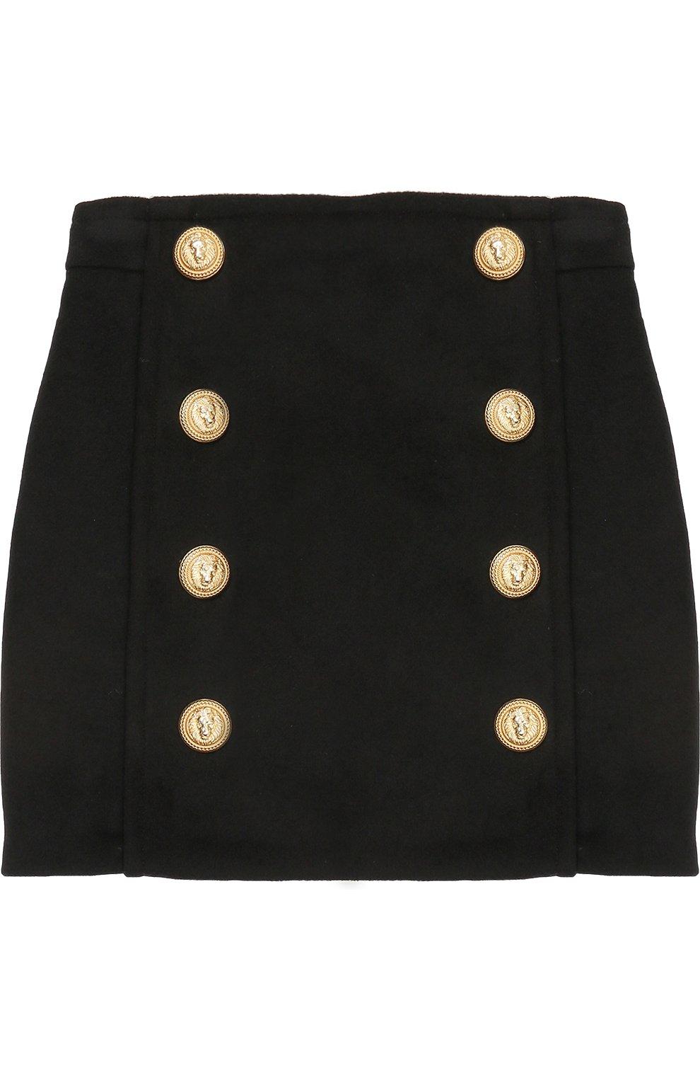 Шерстяная юбка с декорированными пуговицами   Фото №1